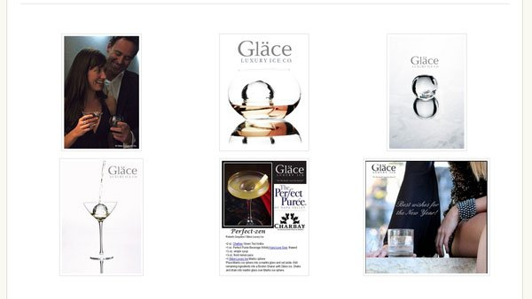 Screenshots of Glace Luxury Ice ads.