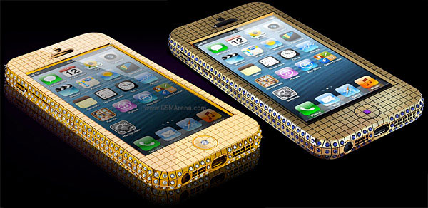 IPhone encrusted in diamonds and another in sapphires