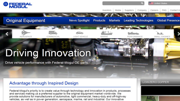 A screenshot of Federal-Mogul's website.