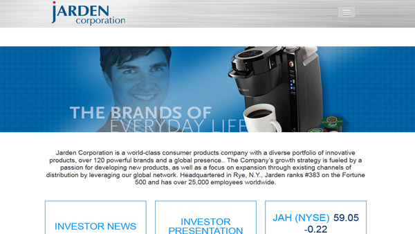 A screenshot of Jarden's website.