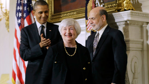 Janet Yellen flanked by President Obama and Ben Bernanke last year.  (Photo: AP)