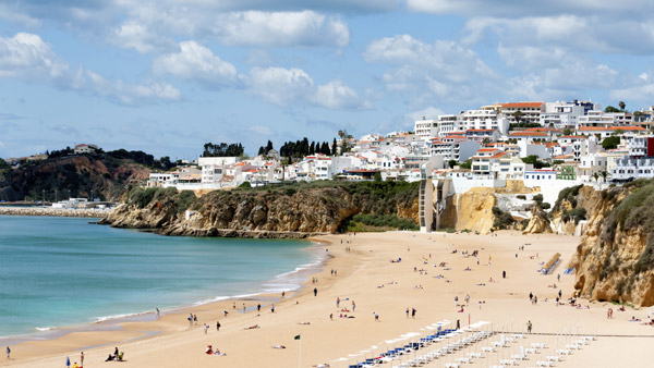 Albufeira Beach in Western Portugal.