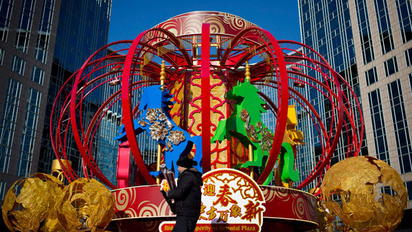 A float for Year of the Horse festivities being prepared in Beijing. (Photo: AP)