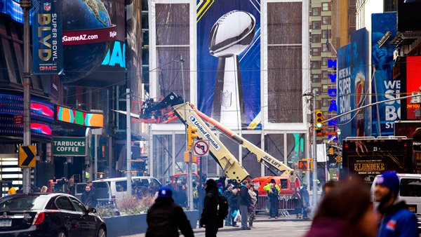 Super Bowl Boulevard, Times Square, NYC. (Photo: AP)