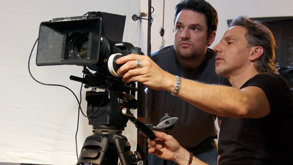 "Jim Bruce, left, shooting ""Money for Nothing."""