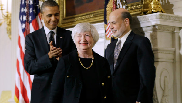 Fed Chairwoman Janet Yellen with President Obama and former Fed  chief Bernanke. (Photo: AP)
