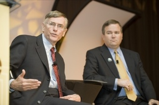 FINRA CEO Richard Ketchum, left, with FSI CEO Dale Brown.