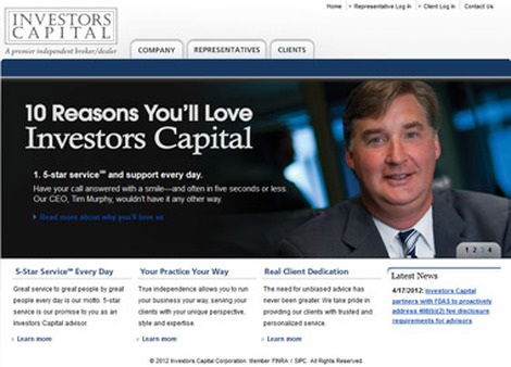 Screenshot from Investors Capital website.