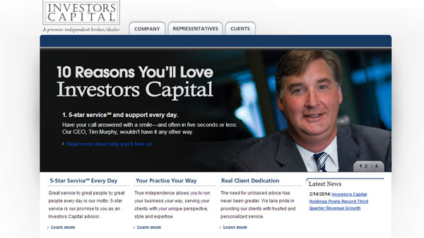 Screen shot of Investor Capital's web site.
