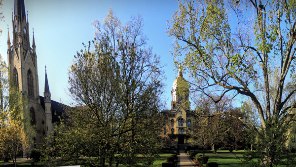 University of Notre Dame historic center, popularly termed the God Quad. (Photo: Wikimedia Commons)