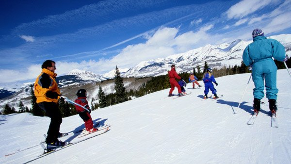 Skiers in the mountains of Colorado.