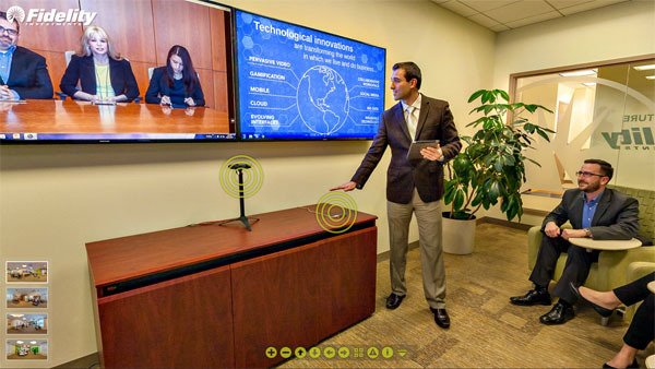 Fidelity's briefing room shows off gesture interface controllers and a panoramic teleconferencing camera.