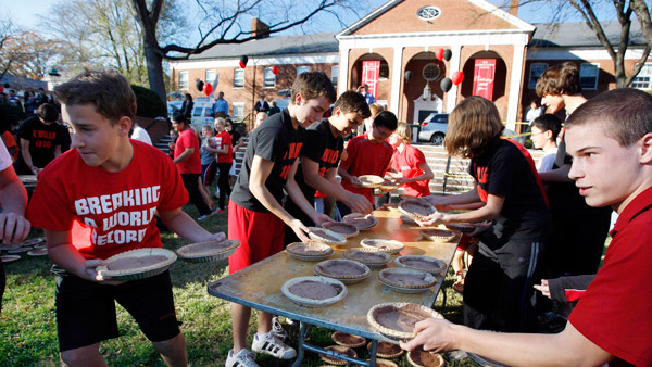 Students set the record for the biggest pie fight for charity at the Lawrenceville School. (Photo: AP)