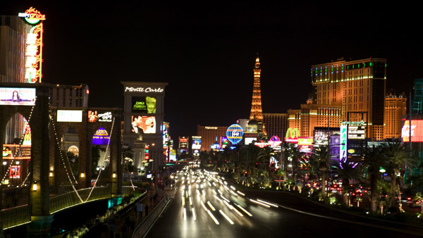 Night skyline of Las Vegas strip.