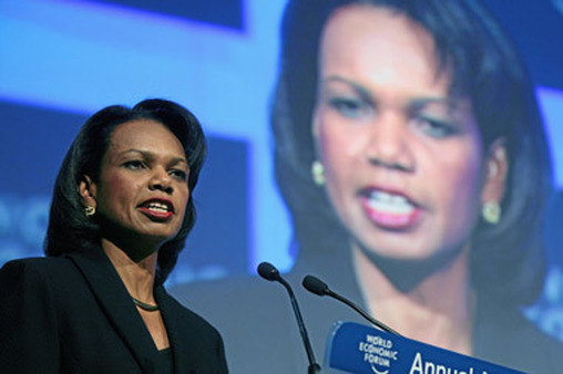 Condoleezza Rice speaking at Davos in 2008.