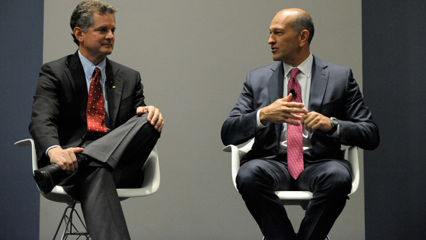 Rick Ferri, left, and Chris Brightman debating smart beta at Morningstar conference. (Photo: Jim Tweedie)