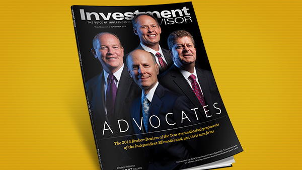 Announcing the 2014 Broker-Dealers of the Year. Clockwise from top: David Stringer, Prospera; Ralph DeVito, The Investment Center; Eric Schwartz, Cambridge; Kevin Bachmann, Questar Capital. (Photo: Tom McKenzie)