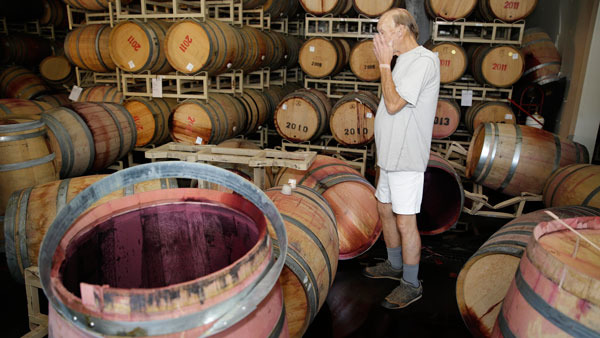 Man looks over his earthquake-damaged winery. (Photo: AP)