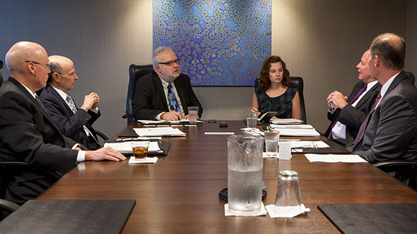 The leaders of the 2014 Broker-Dealers of the Year and the editors of Investment Advisor met in Chicago in August for the Broker-Dealer roundtable. (Photo: Tom McKenzie)
