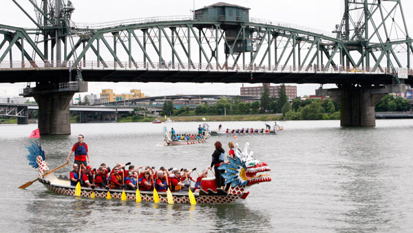 Portland Rose Festival Dragon Boat Race in Tom McCall Waterfront Park. (Photo: AP)