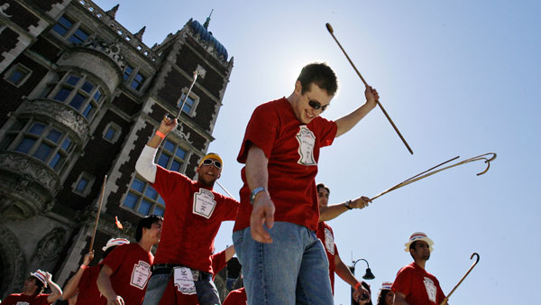 Students parade through the campus of the University of Pennsylvania. (Photos: AP)