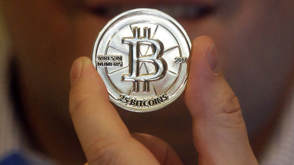 A 25-bitcoin token, worth $9,555 at the current exchange rate. (Photo: AP)