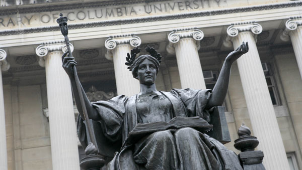 The statue of Alma Mater on the campus of Columbia University in New York. (Photo: AP)