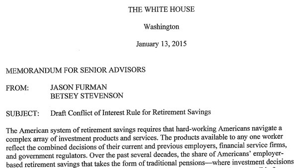A memo from two White House staffers argues that 'brokers' are costing retirement plan participants billions.
