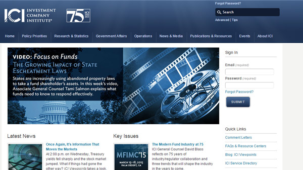 A screenshot of Investment Company Institute website.