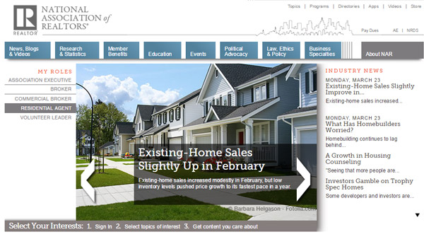 A screenshot of National Association of Realtors website.