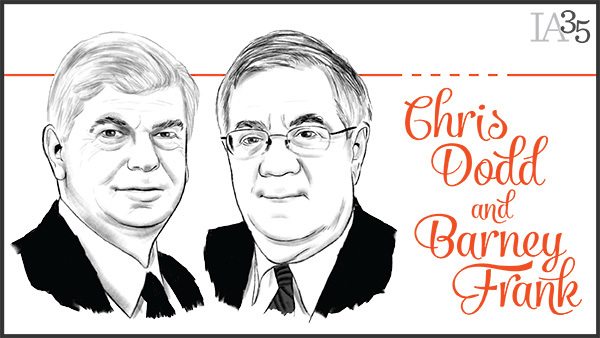 Chris Dodd and Barney Frank have appeared on the IA 25 a combined five times. (Portrait: Joel Kimmel)