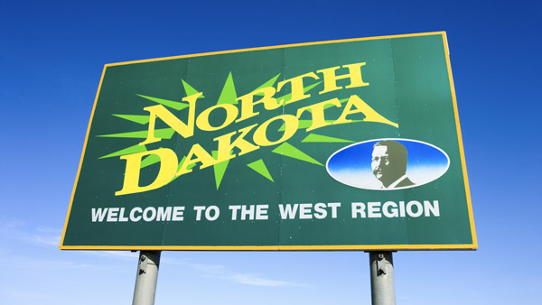 North Dakota welcome sign.