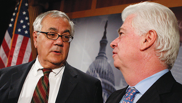 Barney Frank (left) and Chris Dodd shared their disappointments, concerns for the law that bears their names. (Photo: Jim Young/Reuters/Corbis)