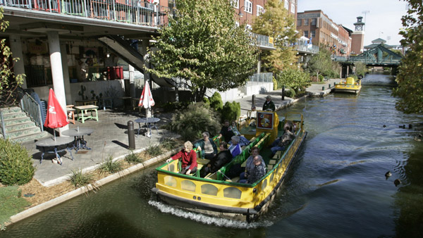 A boat moves along the canal in the Bricktown area of Oklahoma City. (Photo: AP)