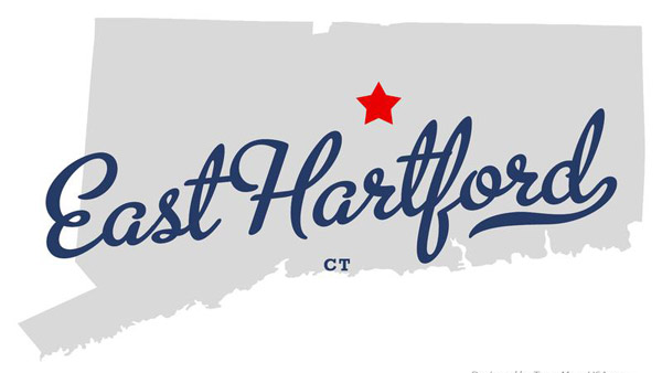 East Hartford on a Connecticut map