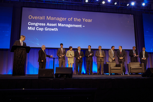 The 2017 SMA Managers of the Year on stage at the Envestnet Advisor Summit in Dallas. (Photo: Tom McKenzie)
