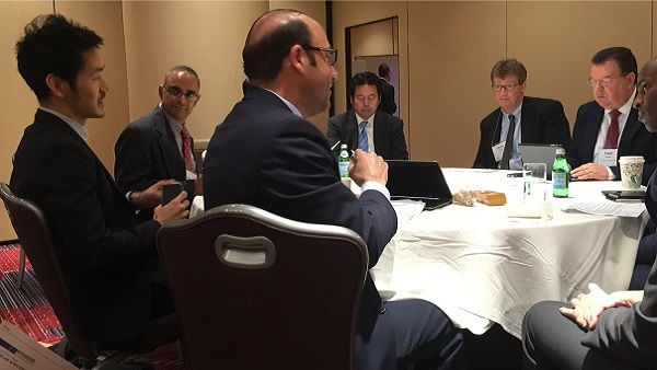 James Sung (left) and Joseph Marinucci (center) said Thursday that the health insurers they rate have strong capital and liquidity levels. (Photo: Allison Bell/TA)