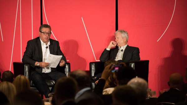 Richard Thaler, right, at Morningstar with Barry Ritholtz. (Photo: Wyckoff-Tweedie Photography)