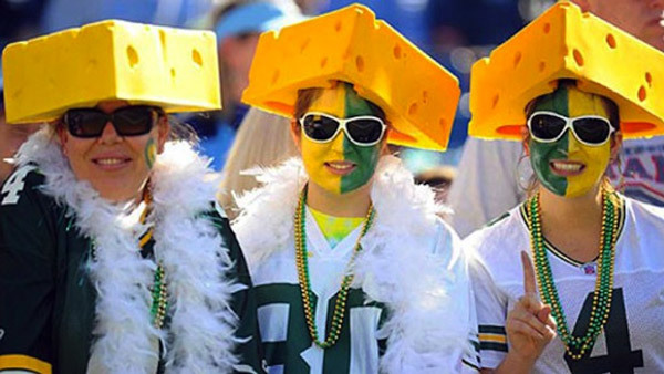 Cheesehead-donning fans of the Green Bay Packers.