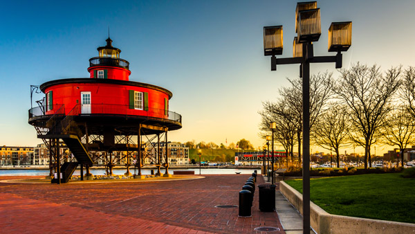 Seven Foot Knoll Lighthouse at the Inner Harbor in Baltimore.