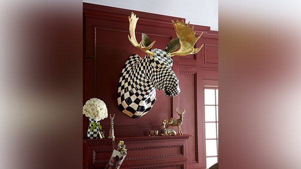 MacKenzie-Childs Courtly Check Moose Head