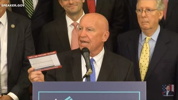 Rep. Kevin Brady, R-Texas, predicted at a tax bill event in September that most taxpayers will soon be able to file their taxes on a postcard. (Photo: House)